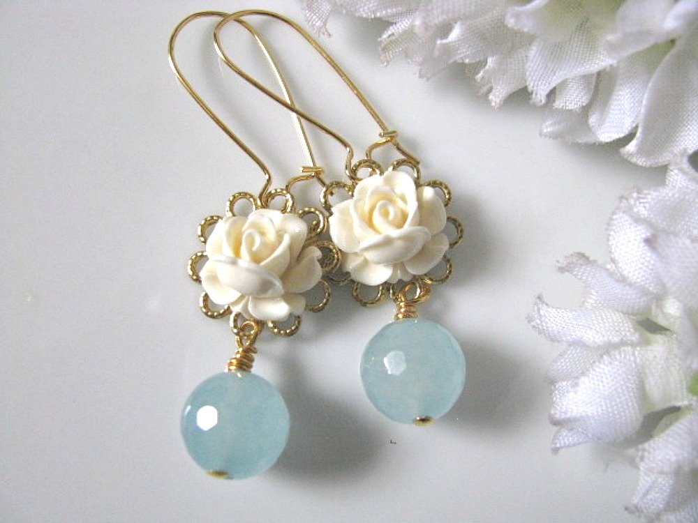 Vintage Cream Ivory Rose Flower And Blue Jade Drop Earrings