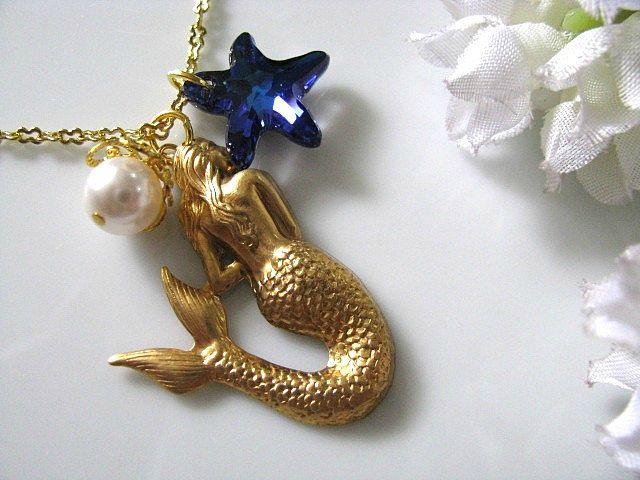 The Little Mermaid Necklace - Bermuda Blue Swarovski Starfish Crystal, Swarvoski White Pearl