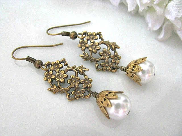 Vintage Style Brass Daisy And Leaf Filigree With White Glass